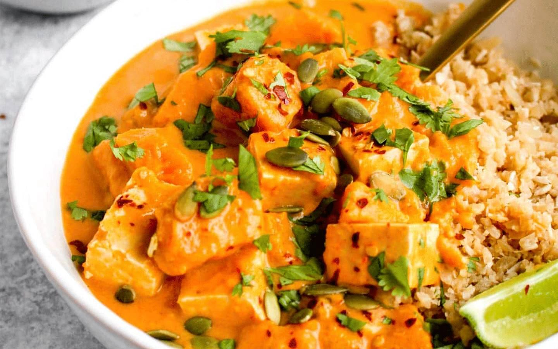 Dýňovo-batátové curry, jasmínová rýže