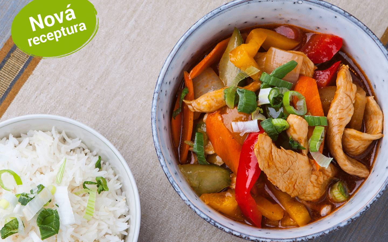 Chicken sweet and sour s rýží