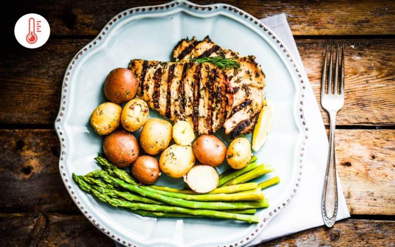 Kuřecí grilovaný steak s chřestem, pečenými bramborami a jogurto-česnekovým dipem