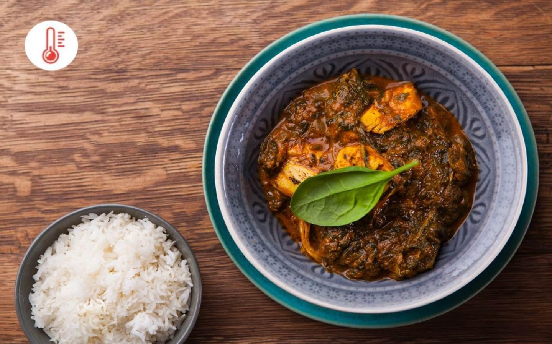 Indický Chicken Palak s rýží